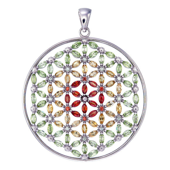 Kaya Flower of Life with 108 Gems in Red, Yellow, & Green Sterling Silver Pendant