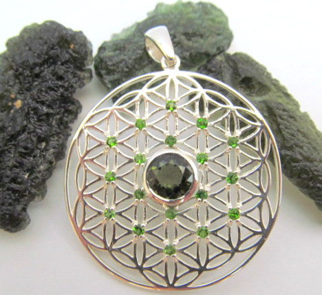 Flower of Life with Moldavite and Tsavorite - Jai 108 Presents