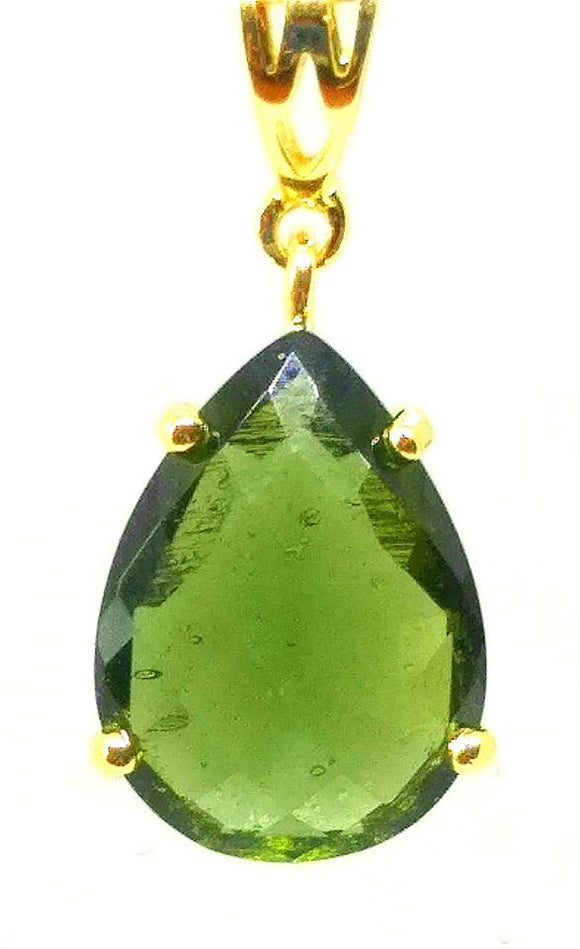 18k faceted moldavite pendant