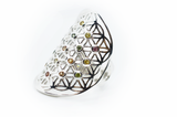 Sapphire Flower of Life Silver Ring