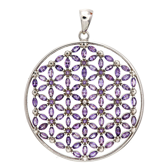 Amethyst Dream Flower of Life Necklace with 108 Gemstones