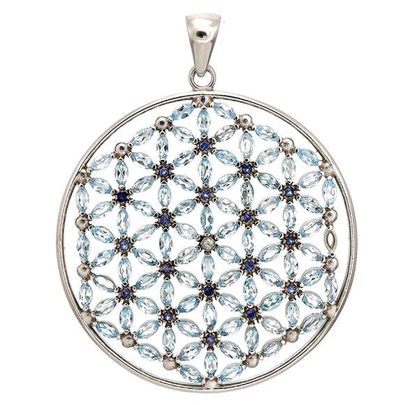 Flower of Life/108 Stones/Blue Topaz