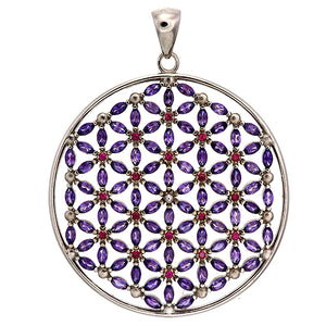Cardinal Flower of Life Sterling Silver Pendant Featuring 108 Rubies and Amethysts