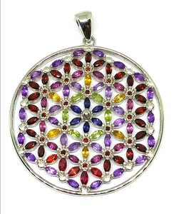 Spring Bouquet Flower of Life Sterling Silver Pendant Iolite, Garnet, Citrine, Peridot, Amethyst, and Ruby