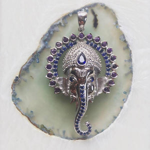 Ganesh in silver with 108 stones