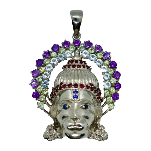 Hanuman Sapphire Pendant Necklace with Ruby Crown
