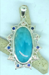 Larimar Lotus Pendant with Zircon and Blue Sapphires