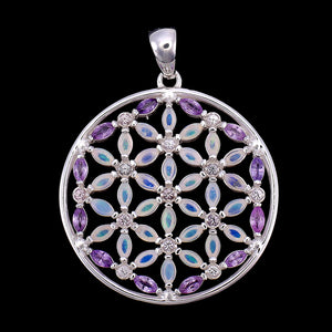 Harmony Amethyst & Opal Flower of Life Necklace Small Version