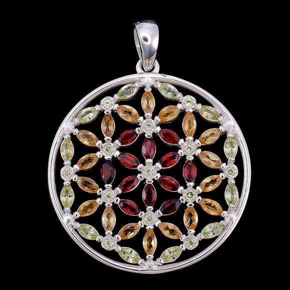 Kaya Flower of Life Garnet, Citrine, & Peridot Sterling Silver Pendant Necklace (Small Version)