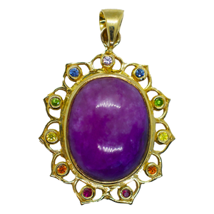 Purple Majesty Sugilite Gold Lotus Surrounded by Rainbow Sapphires Pendant