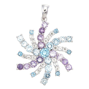 Copper Mountain Blue Topaz, Zircon, & Amethyst Sterling Silver Snowflake Pendant