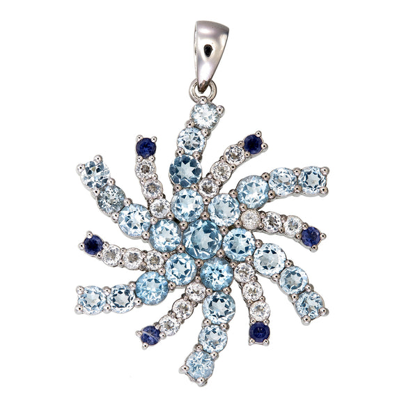 Val D'Isere Topaz & Blue Sapphire Snowflake Sterling Silver Pendant
