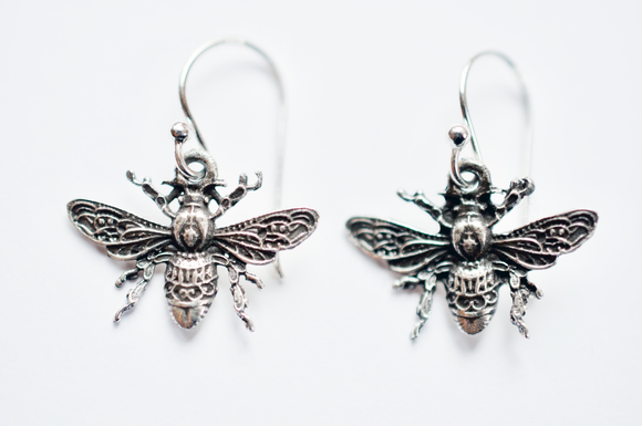 Bee Nice Sterling Silver Honeybee Earrings