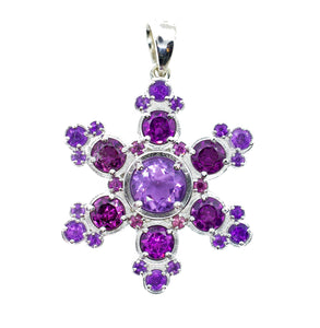 Purple Mountain Amethyst & Rhodolite Garnet Snowflake Pendant Necklace