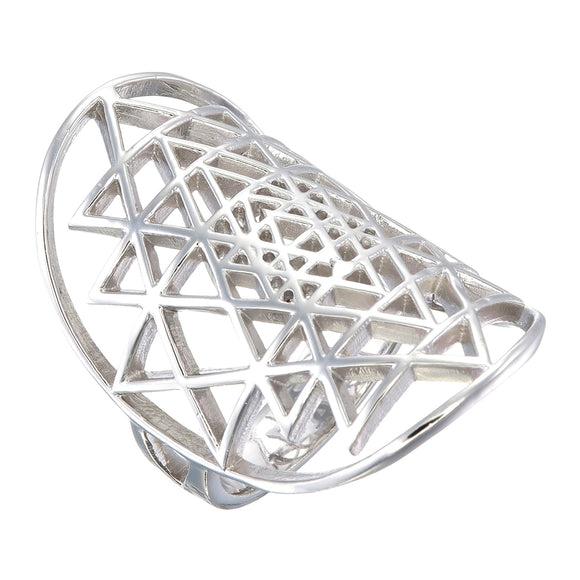 sri yantra sterling silver ring