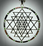 Sri Yantra with Sapphires or Tsavorite in Silver