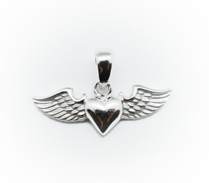Winged Heart Silver Charm Small Pendant Necklace