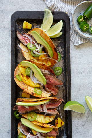 grilled pineapple and flank steak tacos