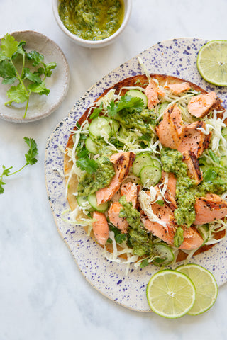 BLACKENED SALMON AND LIME SLAW PIZZA