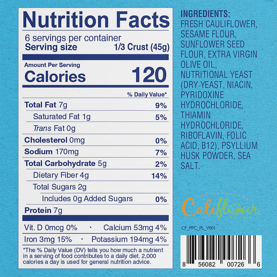 Plant-Based Plain Cauliflower Pizza Crusts Nutrition Facts