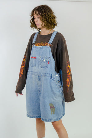 Vintage Distressed Pooh Bear Denim Overalls / Size 22