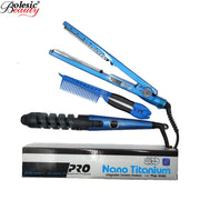 Nano 3 IN 1 HairStraightener Flat Iron Curling Irons Titanium Plate Hair Styling Tools