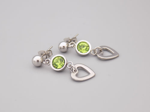 August Birthstone Heart Earrings