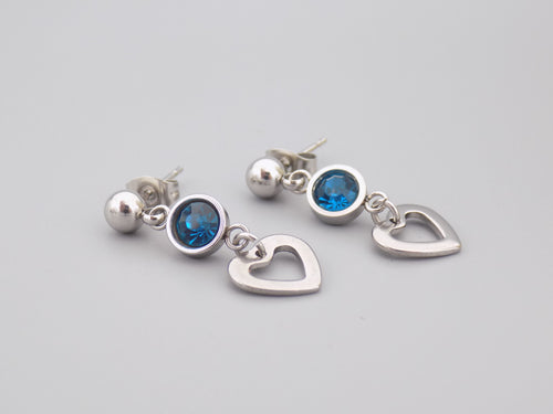 December Birthstone Heart Earrings