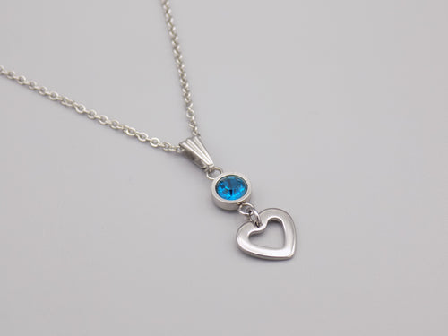 December Birthstone Heart Necklace