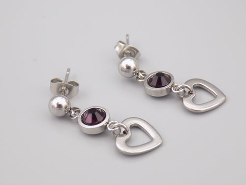 February Birthstone Heart Earrings