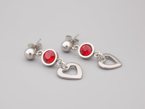 July Birthstone Heart Earrings