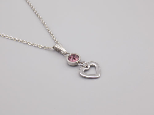 June Birthstone Heart Necklace