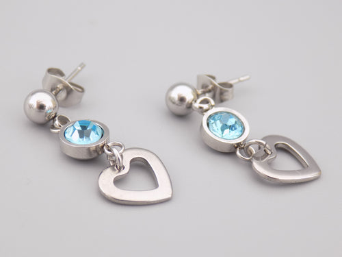 March Birthstone Heart Earrings
