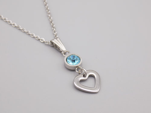 March Birthstone Heart Necklace