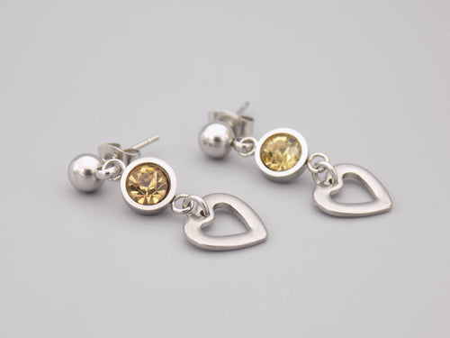 November Birthstone Heart Earrings