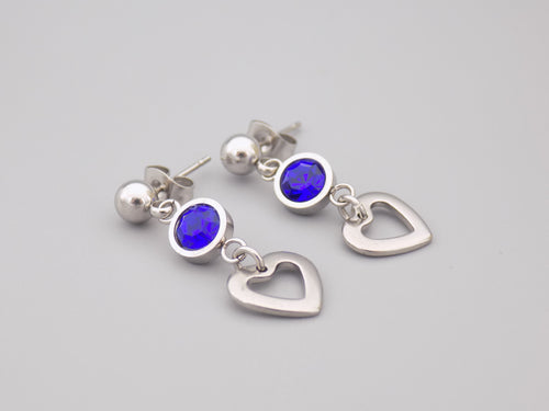 September Birthstone Heart Earrings