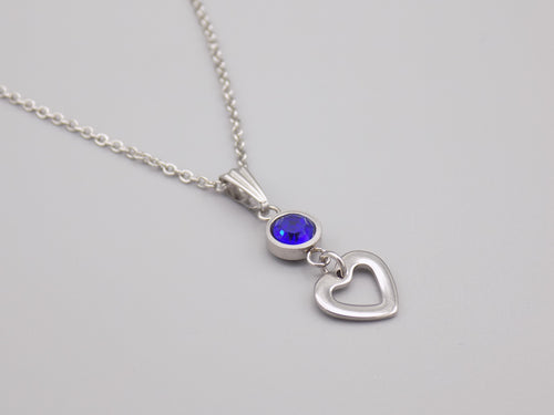 September Birthstone Heart Necklace