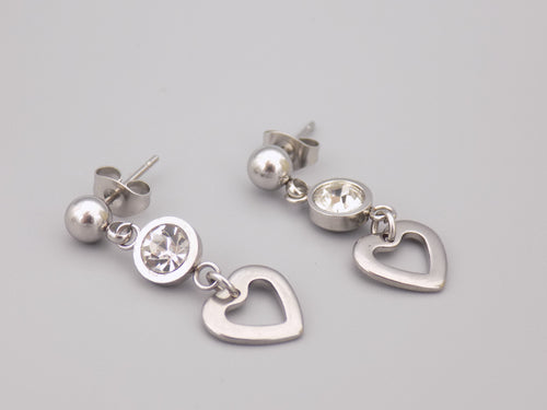 April Birthstone Heart Earrings