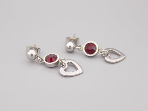 January Birthstone Heart Earrings