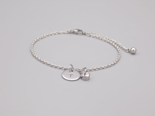 April Birthstone And Initial Bracelet