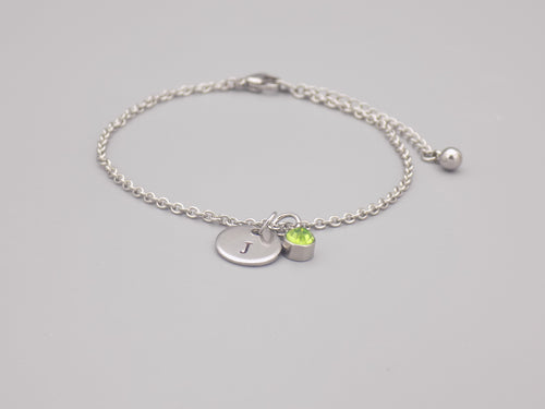 August Birthstone And Initial Bracelet