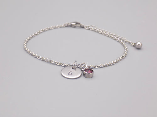 January Birthstone And Initial Bracelet