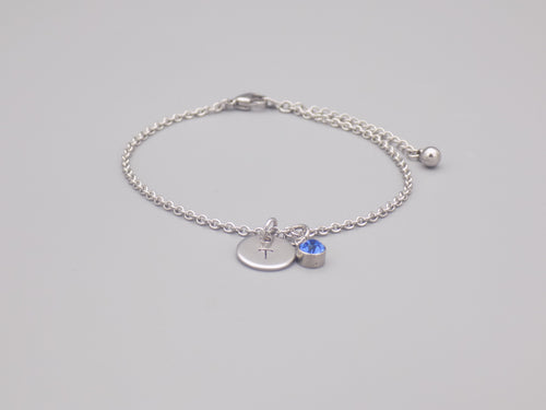 December Birthstone And Initial Bracelet