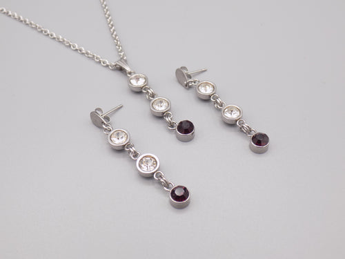 February Birthstone Necklace & Earring Set