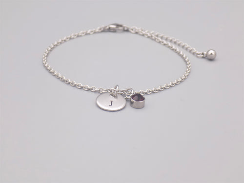 February Birthstone And Initial Bracelet