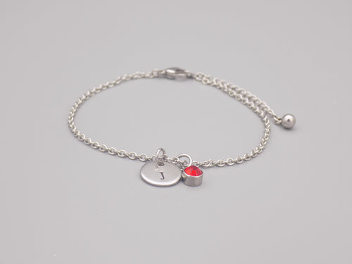 July Birthstone And Initial Bracelet