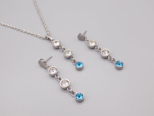 March Birthstone Necklace Earring Set