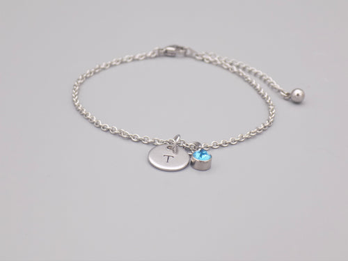 March Birthstone And Initial Bracelet