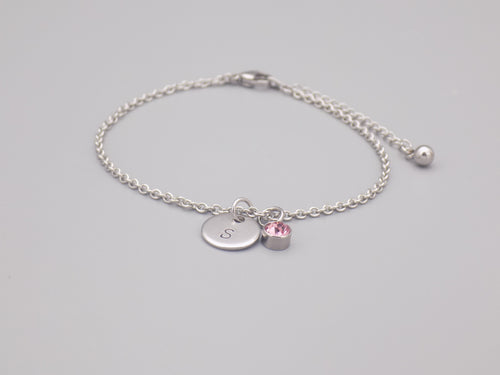 October Birthstone And Initial Bracelet