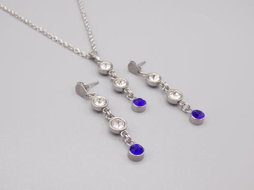September Birthstone Necklace & Earring Set 1